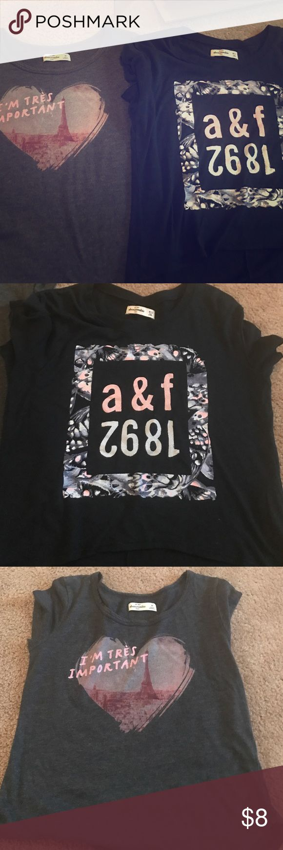 Bundle two Abercrombie girls t shirts size medium Grey t with Eiffel Tower and wider blue t with logo. Medium / age 12. Smoke free home Abercrombie & Fitch Shirts & Tops Tees - Short Sleeve