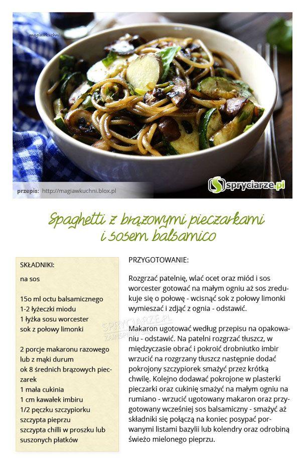 Przepis na spaghetti z brązowymi pieczarkami i sosem balsamico