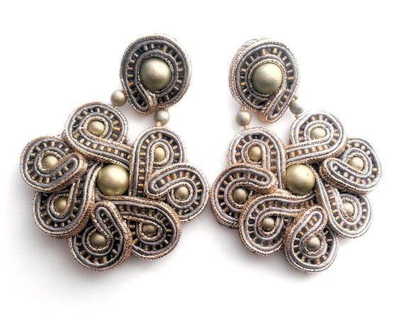 steel magnolia soutache earrings free shipping by KimimilaArt