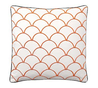 "Scallop Embroidered Pillow Cover, 24"", Orange/Blue"