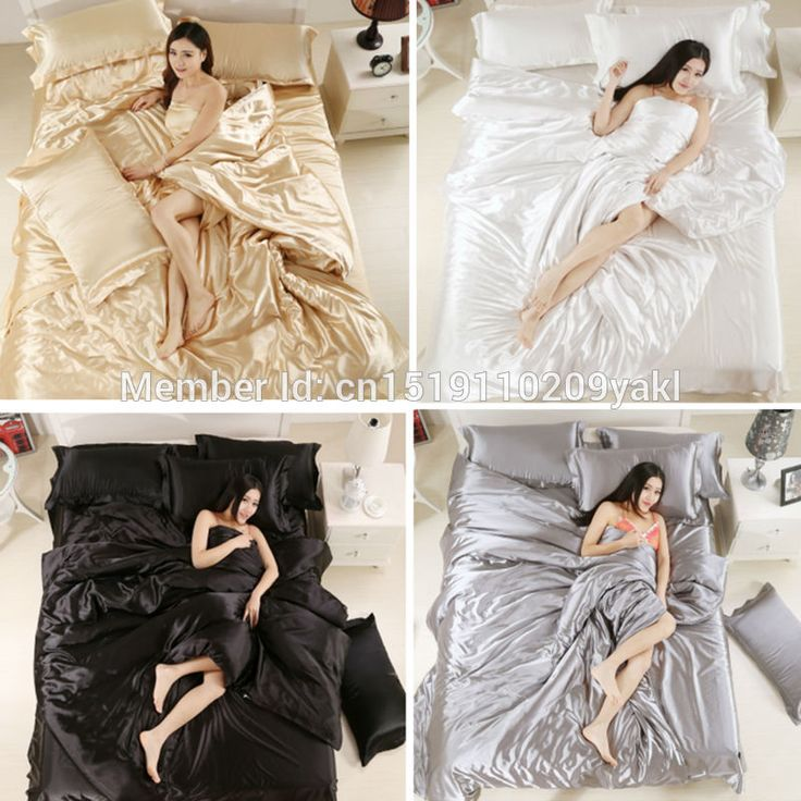 ==> [Free Shipping] Buy Best Luxury Satin Silky 4Pcs Single/Twin/Double/Full/Queen/King Size Bed Quilt/Duvet Cover Set White Black Gray Silver Champagne Online with LOWEST Price | 32716259151