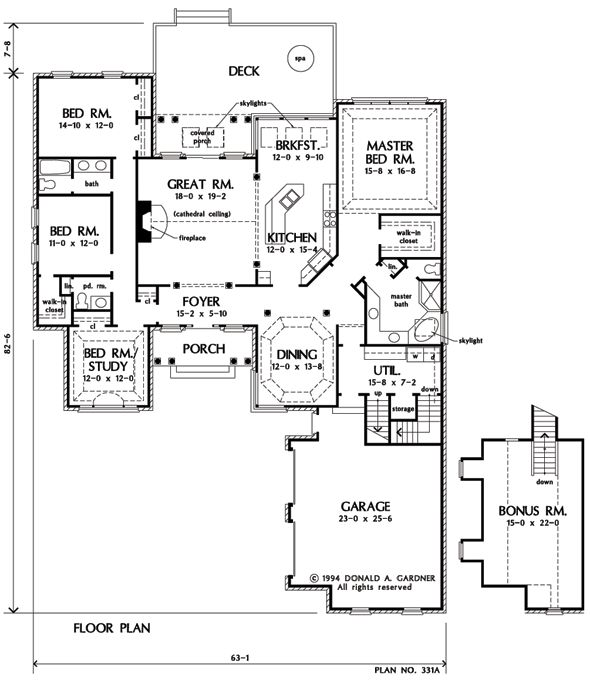 Basement (Optional) of The Milford - House Plan Number 331 ***
