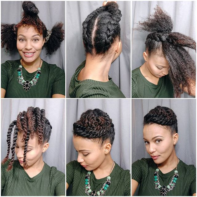 Twisted updo time! 1) Separate hair into three sections. 2) Braid the two back sections up towards the front of your head. 3) Secure ends of the braids in the centre of the top section of hair. 4) Twist all the loose hair. 5) Pin twists until you have a cinnabon like shape atop your head. 6) WERRRRRKKK! SLAAAYYYY! etc. Hahaha. The end. #naturalupdo #twists