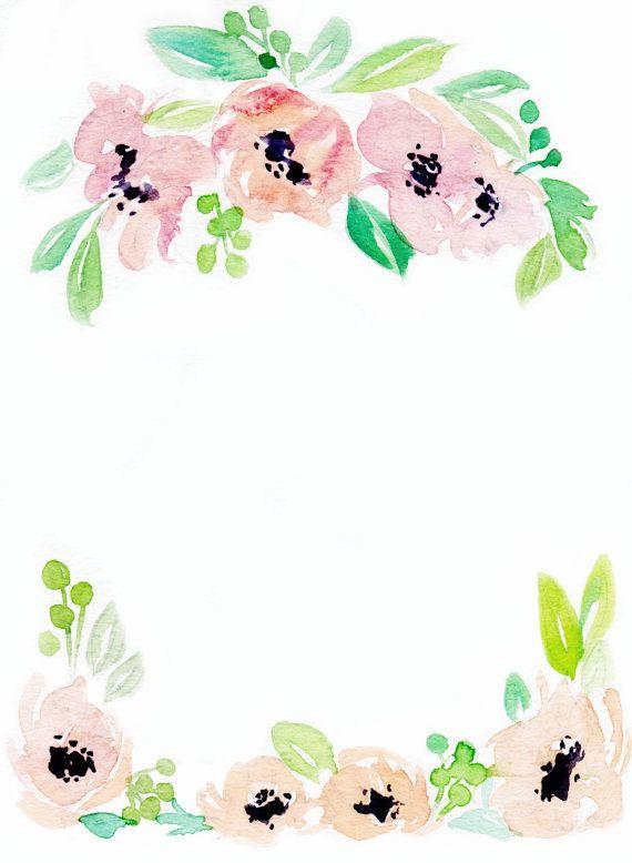 Downloadable Floral Border 3 By Waterncolour On Etsy Floral Border Design Floral Printables