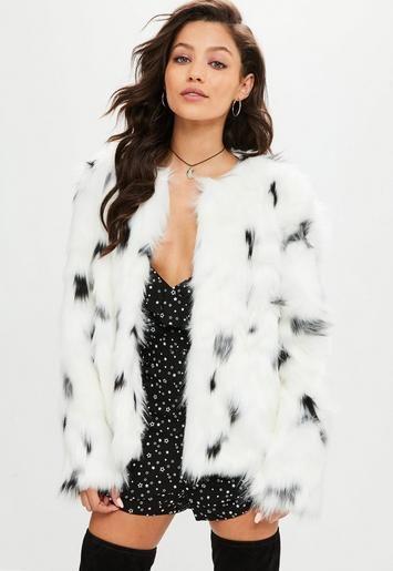This White Faux Fur Coat Features Black, Snow Leopard Fake Fur Coat