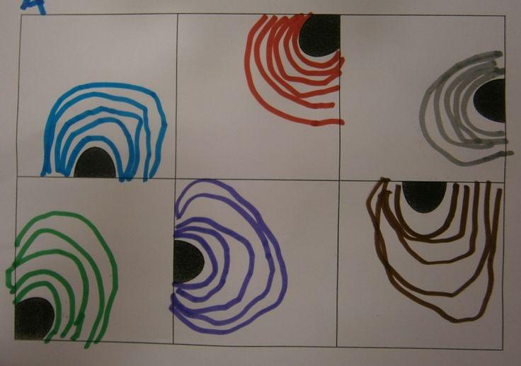 """Lo primero que han hecho en esta sesión de grafismo es describir la plantilla: """"hay seis cuadrados y dentro de los cuadrados hay unos p..."""