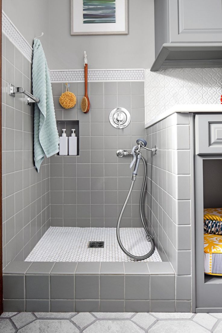 Tip for your dog-washing station: Place the handshower on one of the side walls to keep it within arm's reach.