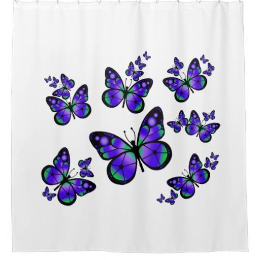 #ShowerCurtain #Bathroom Purple Butterflies Shower Curtain. $69.95
