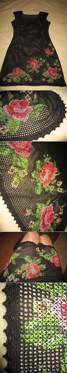 Филейное вязание. Очень красивое черное платье с вышивкой по филе.