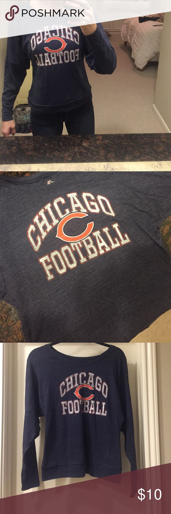 Chicago Football Women's Long Sleeve Cute game day shirt for Chicago fans   Size Small   Never worn! Majestic Tops Tees - Long Sleeve