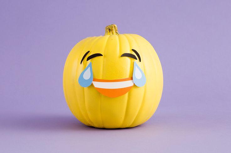 Make DIY Emoji Pumpkins With Our Free Printables! via Brit + Co