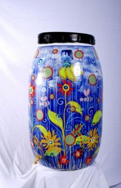 painted water barrel