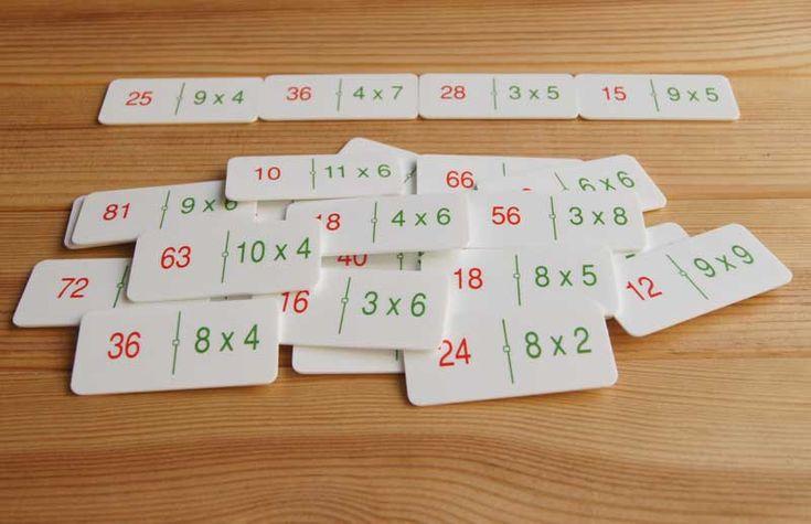 Dominó con multiplicaciones para practicar el cálculo mental. Ver en http://aprendiendomatematicas.com/tienda/home/495-domino-multiplicaciones.html