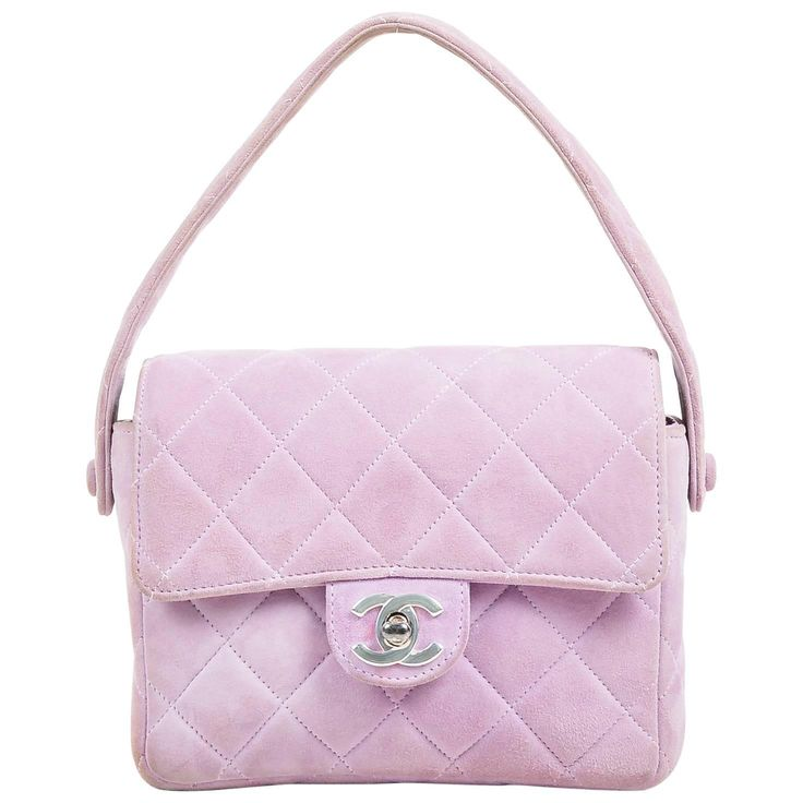 Chanel Lavender Purple Suede Quilted Turn Lock Mini Flap Purse Bag | From a collection of rare vintage shoulder bags at https://www.1stdibs.com/fashion/handbags-purses-bags/shoulder-bags/