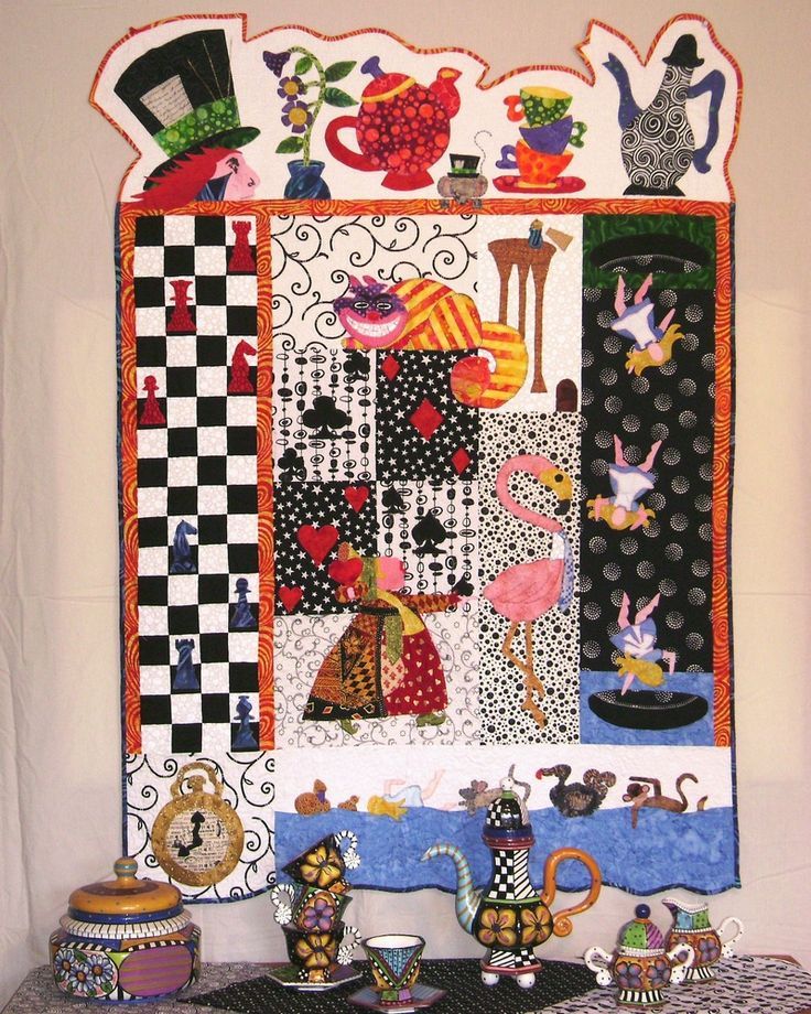 """Goin' Tea Party Mad"",  35"" x 68 1/2"", at Robin's Quilt Nest.  Alice in Wonderland quilts.:"