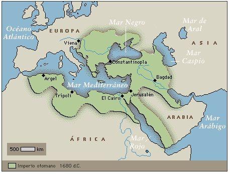 Imperio otomano, a partir de 1600. A finales del siglo XVI los turcos otomanos musulmanes habían conquistado gran parte de las regiones que rodeaban el mar Mediterráneo, incluidas algunas regiones de Europa. Una serie de guerras con Rusia, Austria y Polonia en los siglos XVII y XVIII redujeron y debilitaron el imperio que finalmente se desintegró al final de la I Guerra Mundial.