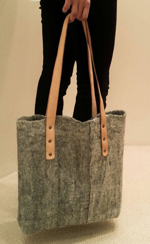 Caramel Felted Handbag with leather handles  Color Grey felt / natural leather with studs