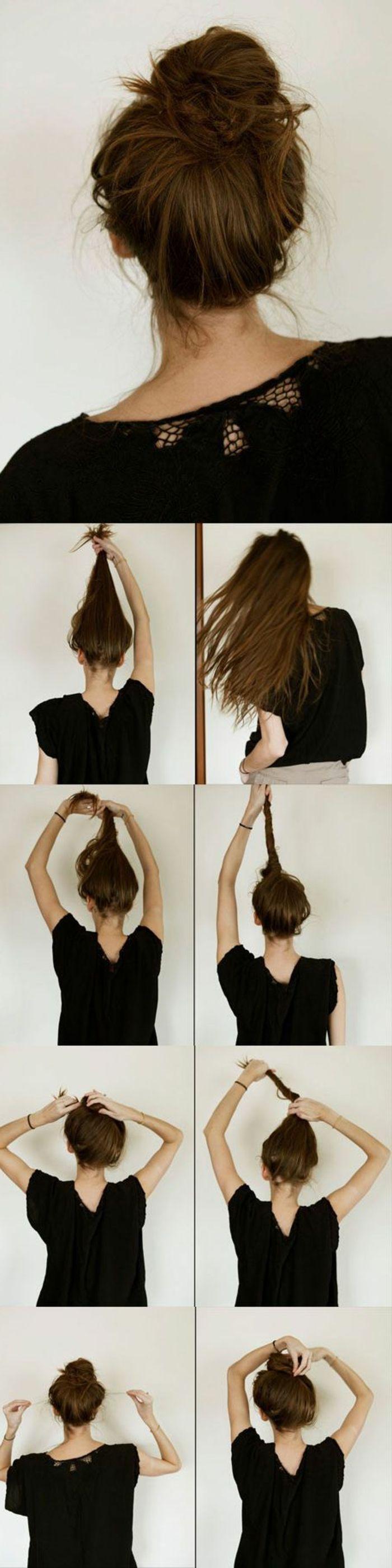 chignon-facile-a-faire-chignon-fixé-en-haut-de-la-tête-cheveux-longs