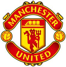 """The words """"Manchester"""" and """"United"""" surround a pennant featuring a ship in full sail and a devil holding a trident."""