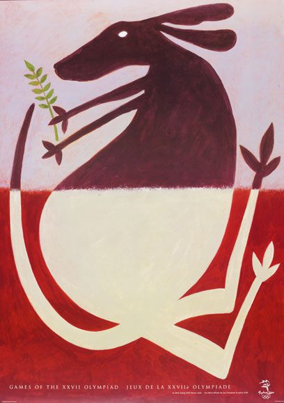 'Peace Roo'. Official Design Poster no.1 for Sydney Olympic Games 2000, David Lancashire | V&A