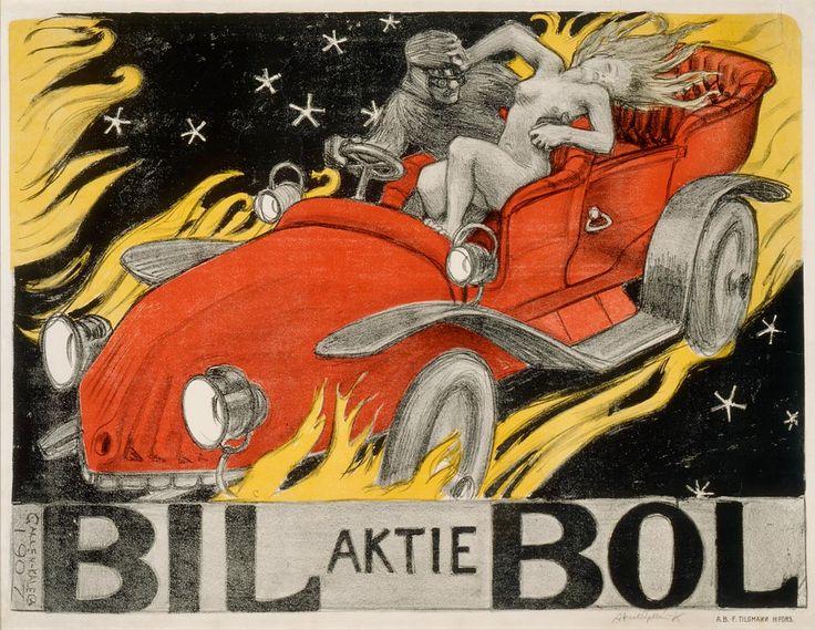 Akseli Gallen-Kallela: Bil-Bol, autoliikkeen juliste