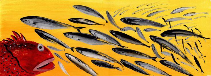 Bianca Maria de Sio Cesari, artista e architetto ha dedicato una parte della sua pittura alla realizzazione di pesci, singoli o in branco, coloratissimi