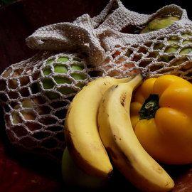 Hand crocheted cotton market bag.