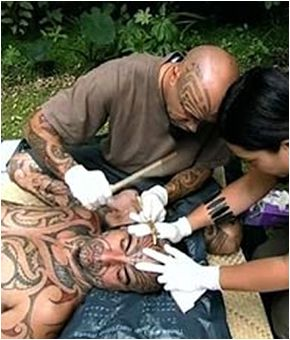 Tā moko is the permanent body and face marking by Maori, indigenous people of New Zealand. It is distinct from tattoo and tatau in that the skin was carved by uhi (chisels) rather than punctured. This left the skin with grooves, rather than a smooth surface.