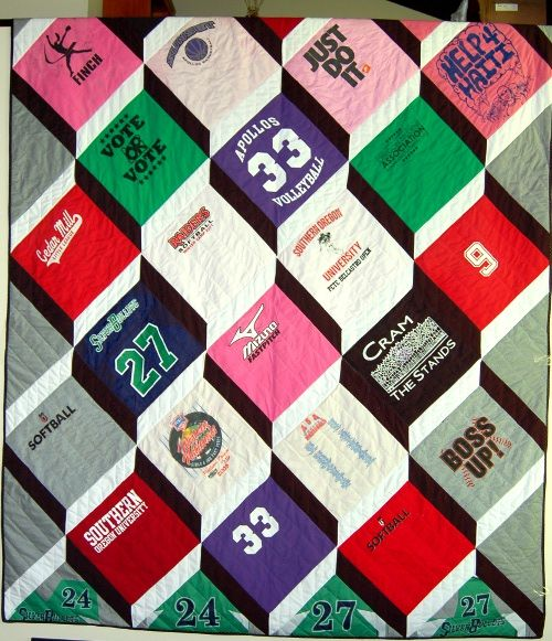 T-Shirt quilt made from a great collection of t-shirts using a unique design