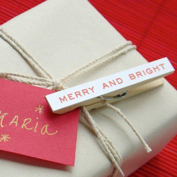 Clothes Pin Gift Wrap Idea