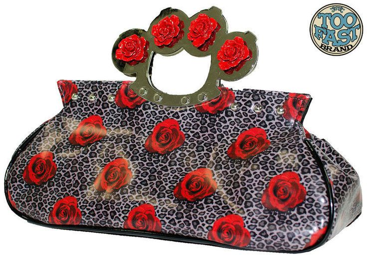 TOO FAST ROSES AND LEOPARD KNUCKLES PURSE BAG ( B10C) in Clothes, Shoes & Accessories, Women's Handbags | eBay