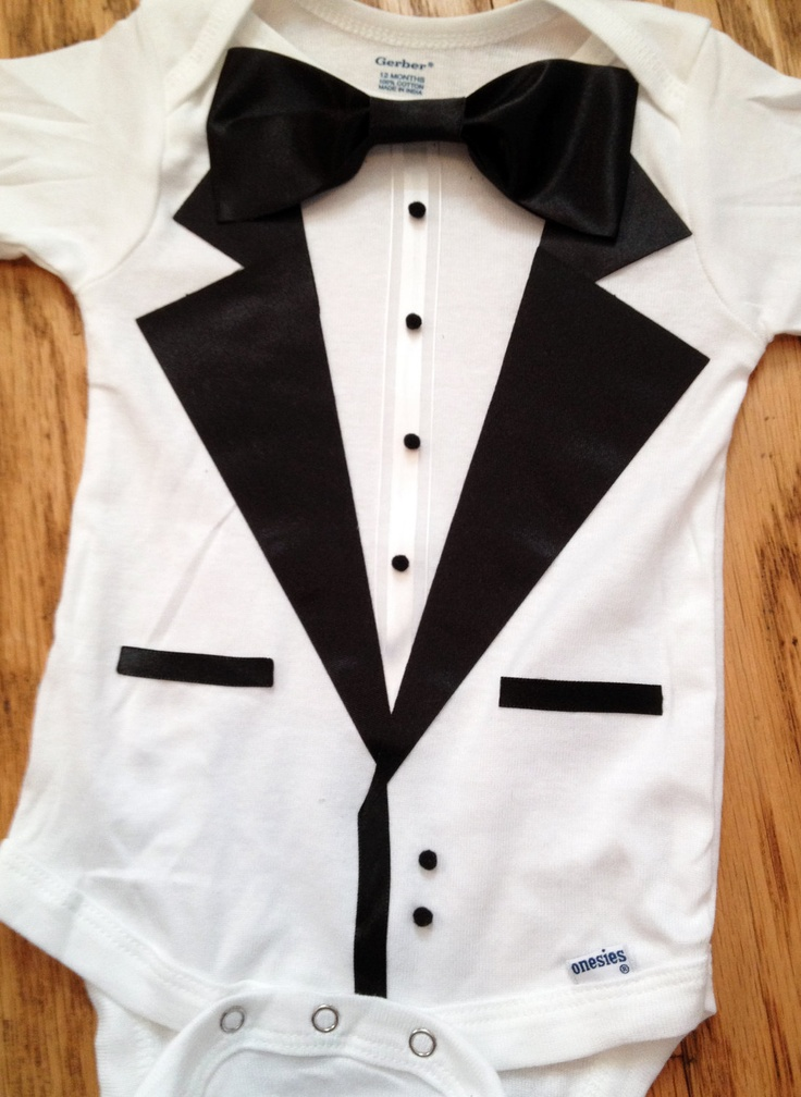 "It says ""I'm formal, but I'm here to party"" tuxedo baby onesie"