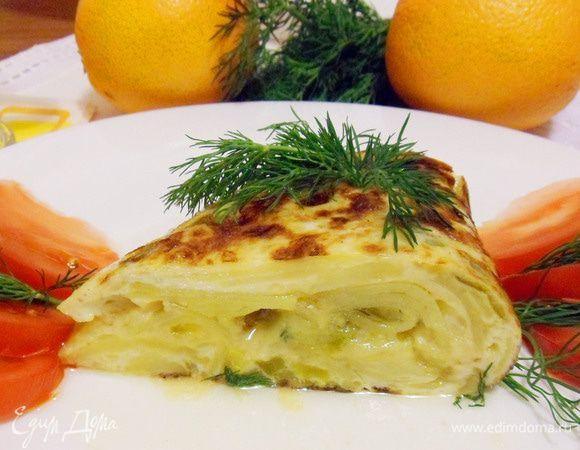 Тортилья по рецепту доньи Хосефины. Ингредиенты: картофель, лук репчатый, перец сладкий зеленый