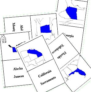 Free printable flashcards of US states. The state name and capital are on one side, state outline on the other  -- just cut out and fold to make a set of 50!