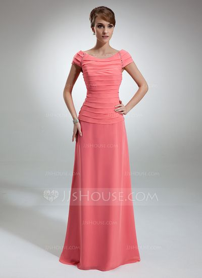 [US$ 136.49] A-Line/Princess Off-the-Shoulder Floor-Length Chiffon Mother of the Bride Dress With Ruffle Beading