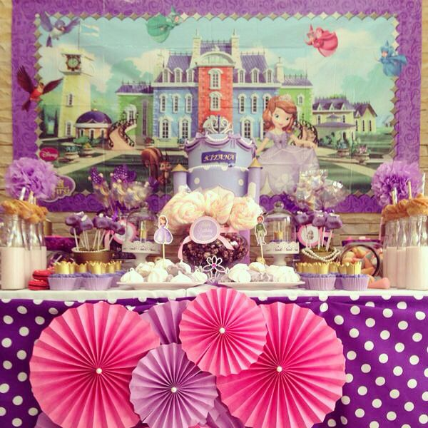 The Sofia the First candy table fit for a princess