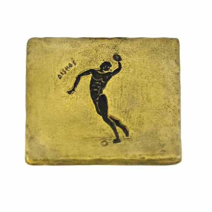 Discus a sport of the ancient Olympics.     Drawing engraved and casted in brass for use as a coaster but also as a paperweight.     Dimensions: 9.5 cm x 9.5 cm     Bronze