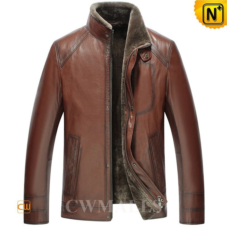 CWMALLS® Vintage Shearling Lined Jacket CW858103 - Buy vintage shearling lined jacket for men, it is sewed and stitched from natural sheepskin leather with fur shearling lining, featuring classic stand collar, zip closure with snap buttons and neat side pockets, this brown shearling jacket is a good companion for winter.