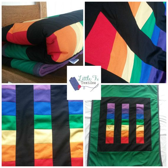 Rainbow Patchwork Blanket Throw Blanket Cot by LittleTsTextiles