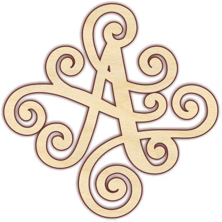 """Fancy scroll monogram letters look great on a front door or in a foyer. Unfinished 1/4"""" Baltic birch plywood. Pieces are laser cut, which results in smooth, brown edges that do not require sanding. Pl"""