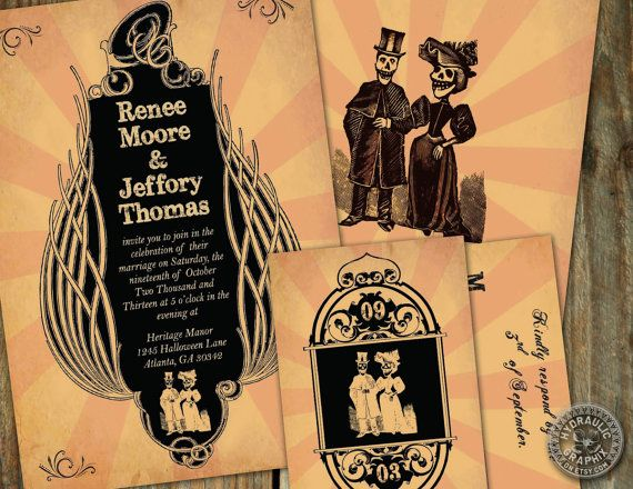 Fall, halloween wedding invitation with RSVP card,  or costume ball invite with day of the dead couple, steampunk inspired