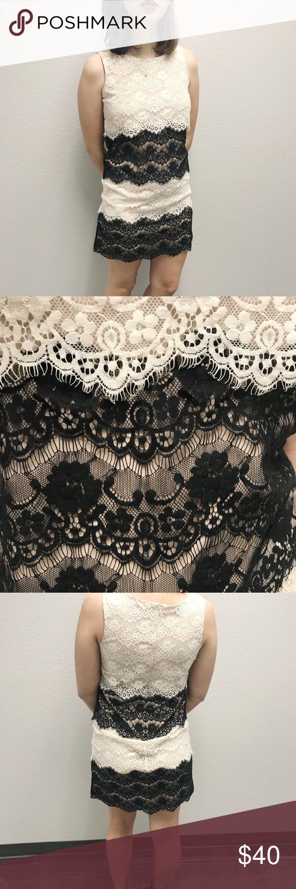 Jessica Simpson Lace Sheath Dress Cream, white,and black lace with nude underlay.  Only won once for high school dance.  Great for any special occasion or night out! Jessica Simpson Dresses Mini