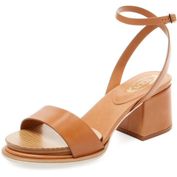Tod's Women's Leather Block Heel Sandal - Brown, Size 35 ($549) ❤ liked on Polyvore featuring shoes, sandals, brown, wrap sandals, ankle strap sandals, ankle tie sandals, heeled sandals and mid-heel sandals