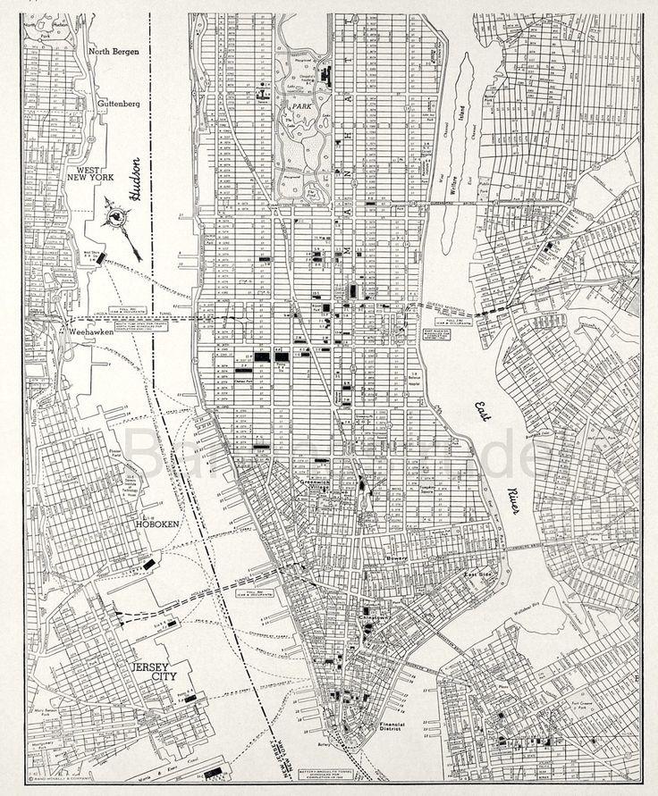 Vintage Map Of Manhattan New York City  Lower Manhattan