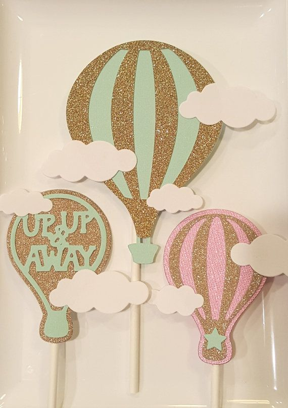 Hot air balloon cake cupcake toppers up up & away first birthday baby shower…