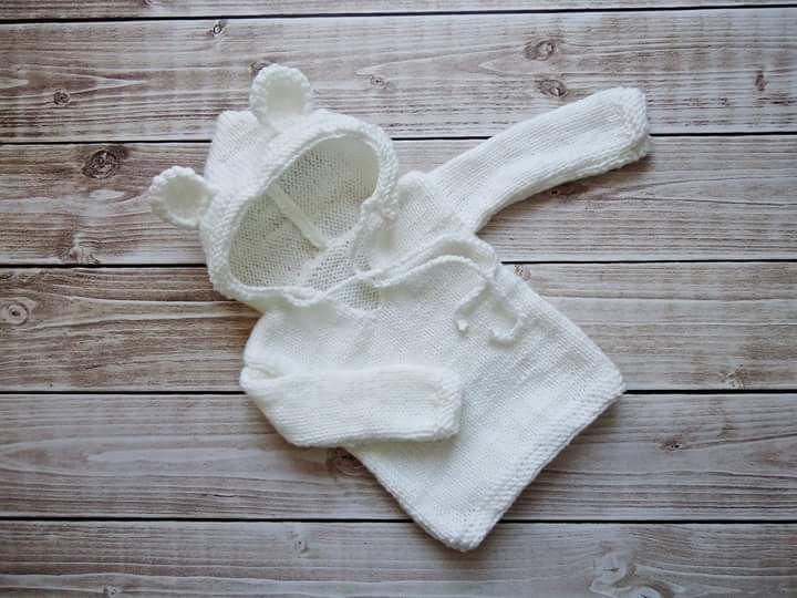 sweterek z kapturem i uszami  - CudaWianki-Anna - Sweterki dla niemowląt