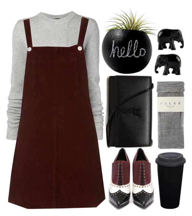 """""""TOPSHOP PETITE Cord Pinafore Dress"""" by crblackflag ❤ liked on Polyvore featuring Yves Saint Laurent, Proenza Schouler, Topshop, Dot & Bo, Falke, The Elephant Family, Sweater, topshop, jumper and twotone"""