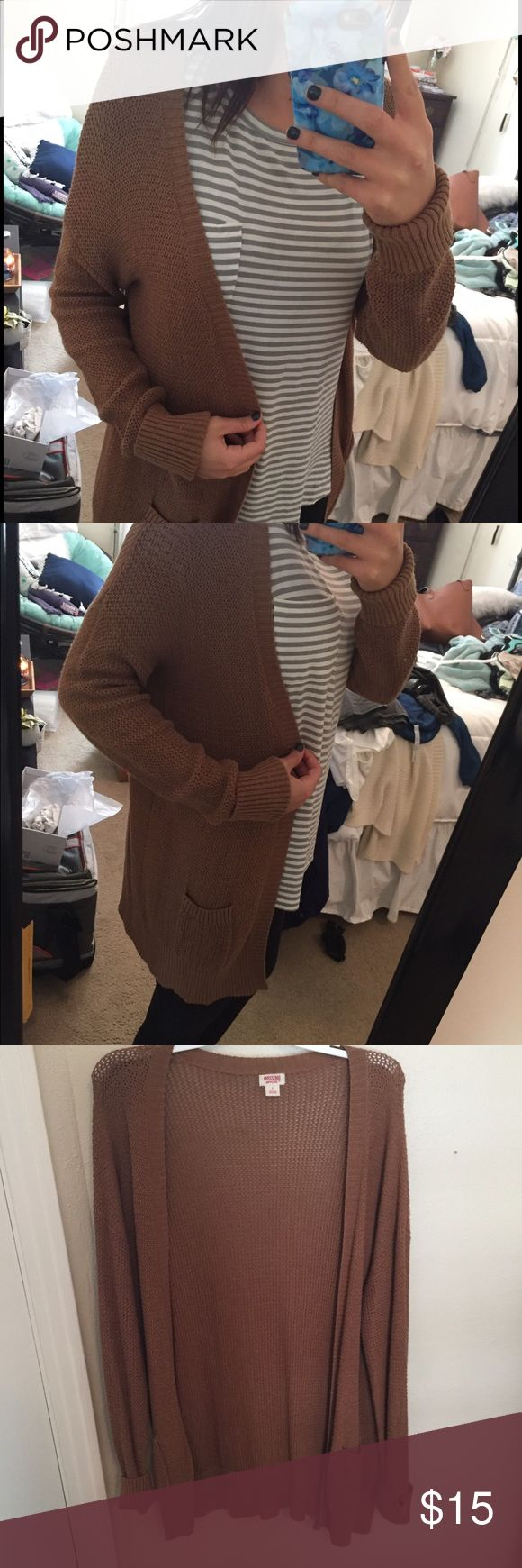 Camel Cardigan NWOT. Camel colored light cardigan with pockets. Mossimo Supply Co Sweaters Cardigans