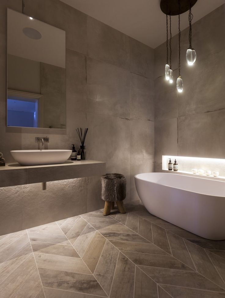 Attractive This Minimalist Modern Bathroom Design Benefits From A Neutral Colour  Scheme And Well Chosen Bathroom Lighting