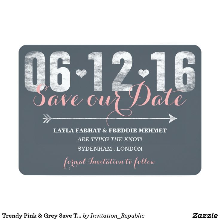 Trendy Pink & Grey Save The Date 5x7 Paper Invitation Card